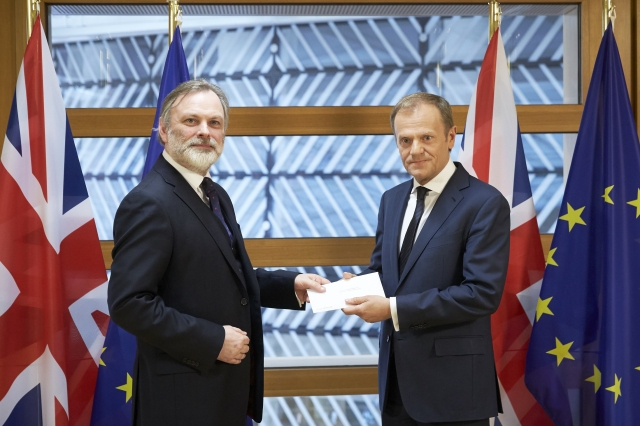 European Medicines Agency - Sir Tim Barrow, permanent representative of the UK to the EU hands over the Article 50 notification to Donald Tusk, president of the European Council