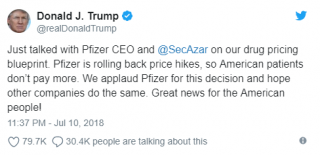 Pfizer defers drug price hike after trump phone call pharmaphorum president trump didnt hesitate to show his approval on his twitter account saying we applaud pfizer for this decision and hope other companies do the malvernweather Gallery